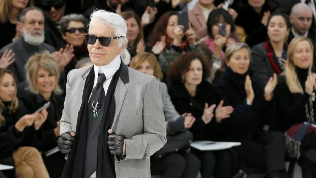 German designer Karl Lagerfeld appears at the end
