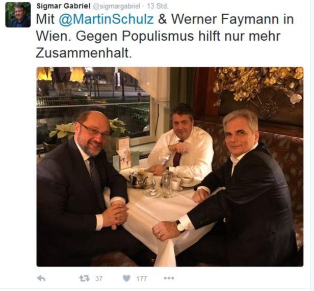 Twitter Sigmar Gabriel, Werner Faymann, 29. Novemb…