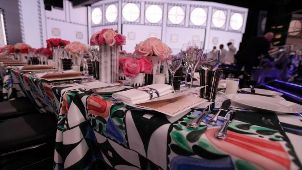 "A general view of the table decorations in the ""Sa"