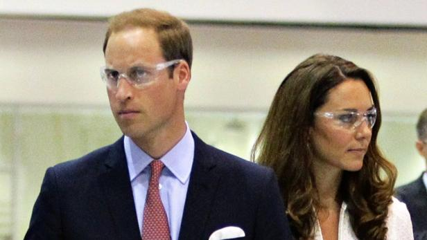 REUTERSBritains Prince William and Catherine, the Duchess of Cambridge, wear safety glasses as they tour the factory floor of the Rolls-Royce Seletar campus in Singapore September 12, 2012. The royal couple are on their first stop of a nine-day tour of So