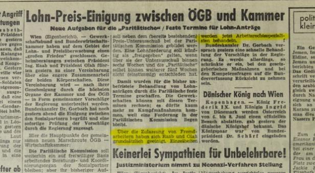 Kurier am 29.12.1961 zum Raab-Olah-Abkommen