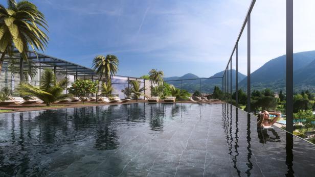Sky Spa, Hotel Therme Meran, Apfelblüte in Meran-S…