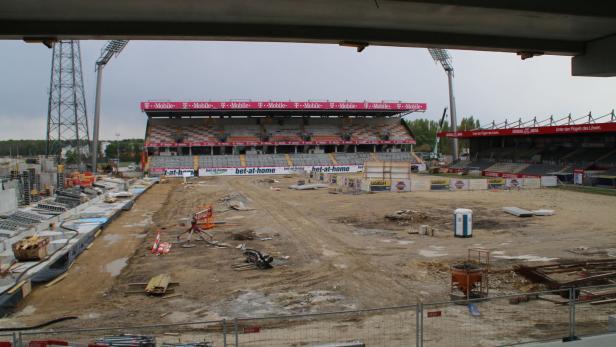 Der Stadion-Bau in Wien-Favoriten schreitet voran.