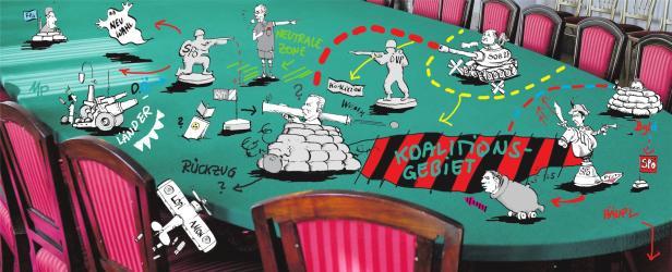 So sieht Karikaturist Michael Pammesberger den Koalitionsstreit