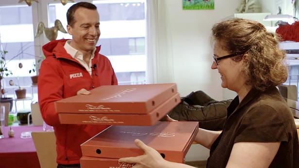 Der Kanzler als Pizza-Bote