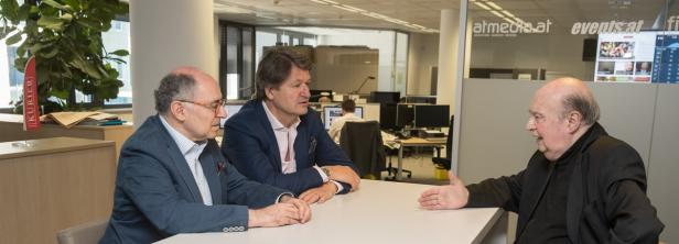 Rudi Gelbard im Gespräch mit Helmut Brandstätter und Georg Markus in der KURIER-Redaktion