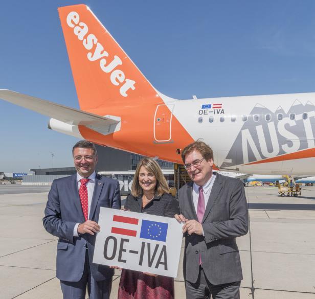 Minister Jörg Leichtfried, Easyjet-Chefin Carolyn McCall, Austrocontrol-Chef Heinz Sommerbauer