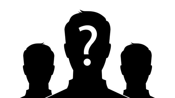 Male silhouette profile picture with question mark…