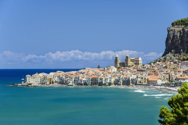 View of Cefalù with beach and castle