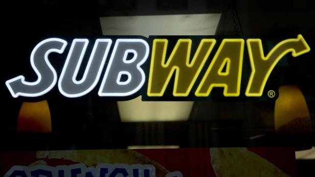 A Subway sandwich shop logo is pictured in the Man