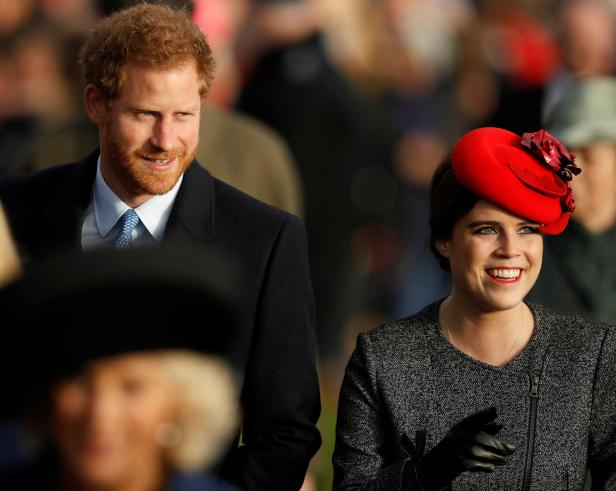 Britain's Prince Harry and Princess Eugenie arrive
