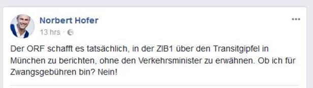 Norbert Hofers Facebookpost