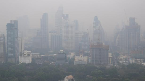 Skyline is seen through morning air pollution in B