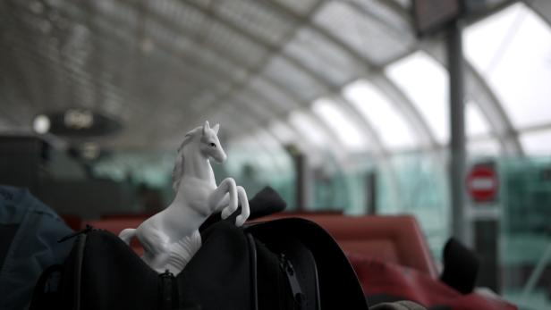 Bild mit Symbolwert: Zwei echte Koffer gehen für 80 Arbeitstage auf Weltreise