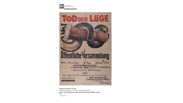 Das NSDAP-Sujet ist dem Plakat der Burschenschaft sehr ähnlich.