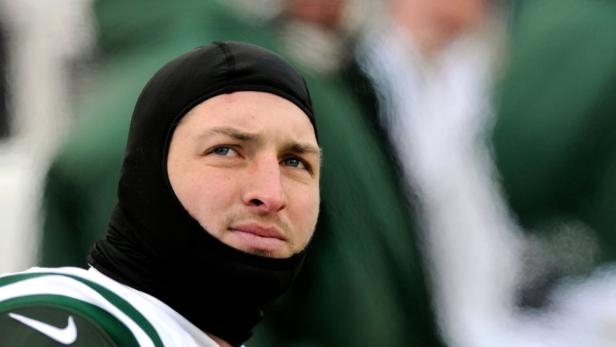 Jets' Tebow on the bench against the Bills in Orch