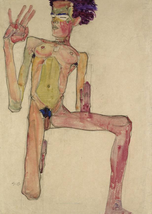 Anton Josef Trcka, Egon Schiele mit gespitzten Lip…