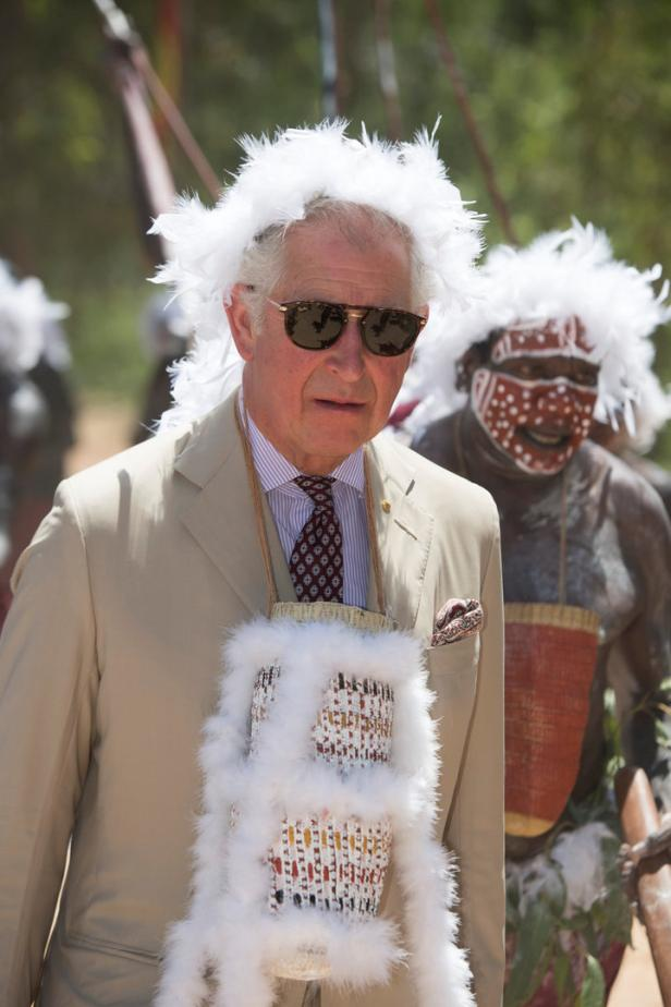 Britain's Prince Charles visits Mount Nhulun for a ceremonial welcome with leaders of the Dhimurru and Rirratjingu Aboriginal Corporations, in Australia