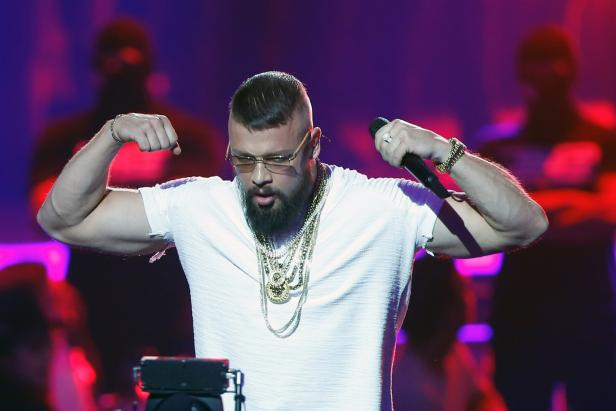 German rapper Kollegah performs during the 2018 Echo Music Award ceremony in Berlin