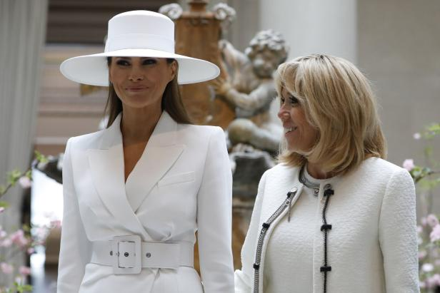 US-FIRST-LADY-MELANIA-TRUMP-AND-MRS.-FRENCH-FIRST-LADY-BRIGITTE-