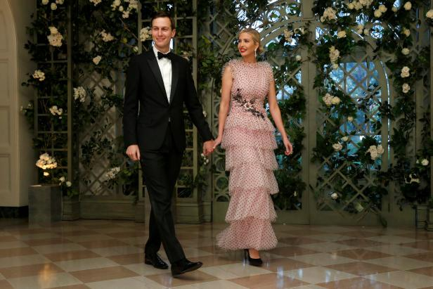 Senior White House Advisers Kushner and Trump arrive for the State Dinner in honor of French President Macron at the White House in Washington