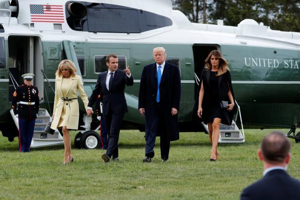 Trump escorts France's Macron at the estate of the first U.S. President George Washington in Mount Vernon, Virginia outside Washington