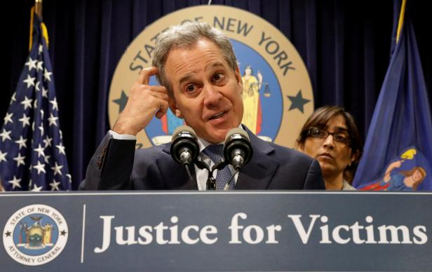 FILE PHOTO: New York Attorney General Eric Schneiderman speaks during a news conference to discuss the civil rights lawsuit filed against The Weinstein Companies and Harvey Weinstein in New York