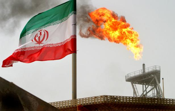 FILE PHOTO: A gas flare on an oil production platform in the Soroush oil fields
