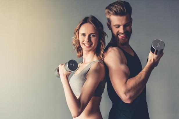 Beautiful young sports couple