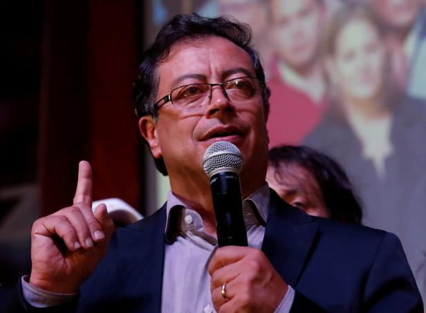Colombian presidential candidate Gustavo Petro speaks to supporters after polls closed in Bogota