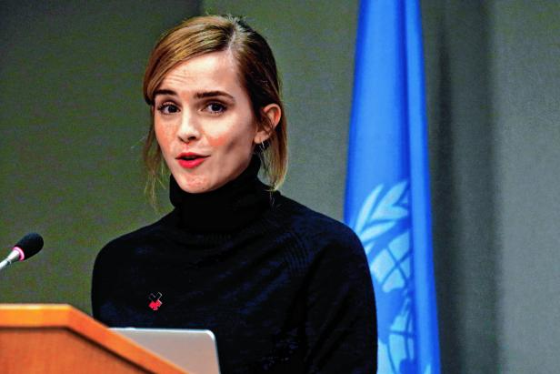 UN Women's Goodwill Ambassador, Emma Watson, speaks during a news conference to launch the HeForShe IMPACT on the sidelines of the United Nations General Assembly in New York