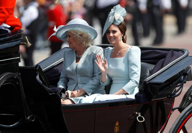 Britain's Camilla, Duchess of Cornwall, and Catherine, Duchess of Cambridge, take part in the Trooping the Colour parade in central London
