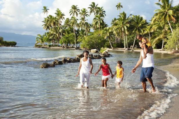 Fijian Family Playing on The Beach