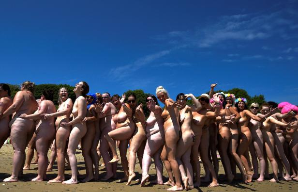 2505 women break a Guinness World record for the largest number of people skinny dipping together on Magheramore beach near Wicklow