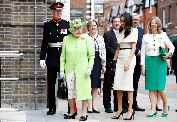 BBritain's Queen Elizabeth and Meghan, the Duchess of Sussex, arrive at the Storyhouse during their visit to Chester