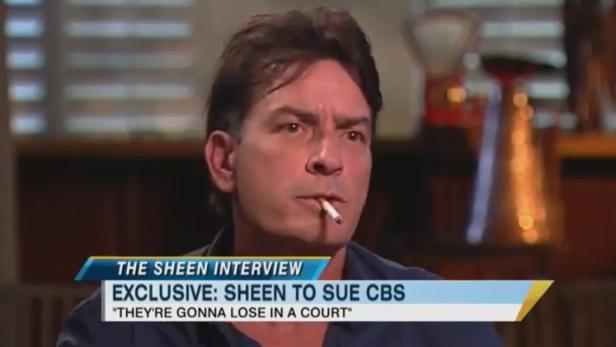 Im Interview erklärt Charlie Sheen, dass er den Fernsehsender CBS verklagen will.