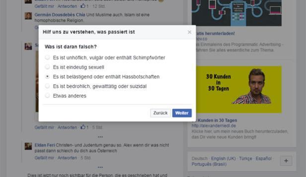 Screenshot: Melden bei Facebook