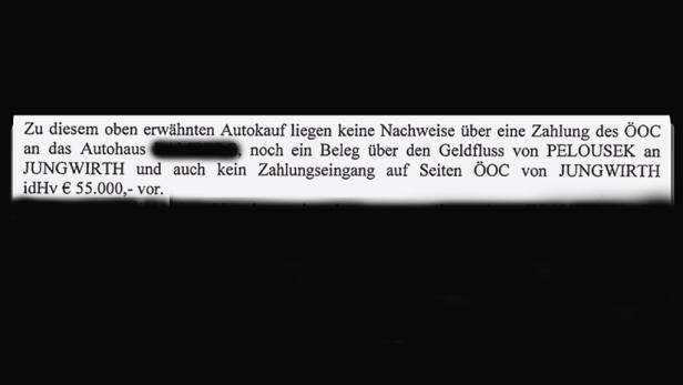 Ein Audi für den Sektionschef: Ex-ÖOC-Macher Jungwirth (re.) besorgte Pelousek einen A6.