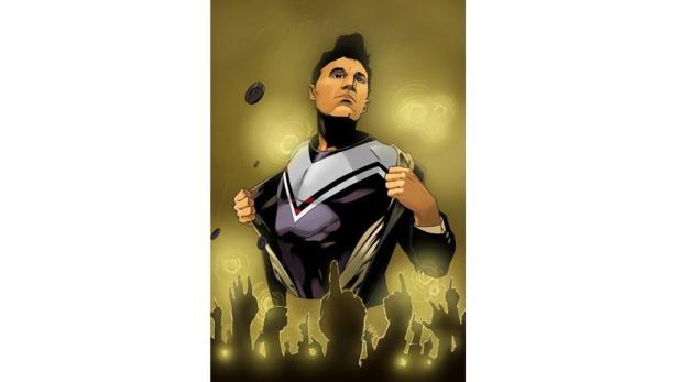 Morrissey so wie ihn viele von den Konzerten kennen - nur gezeichnet.