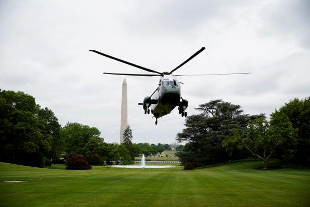 U.S. President Donald Trump arrives from Camp David to the White House in Washington