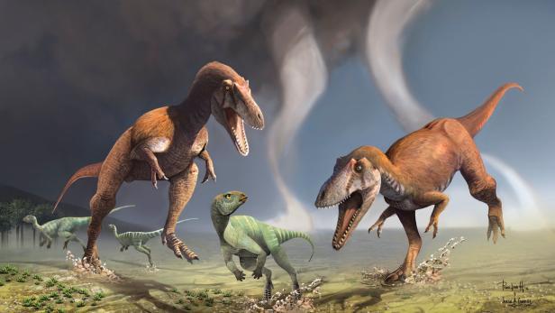 Zwei Gualicho Shinyae auf der Jagd nach kleinen Dinos