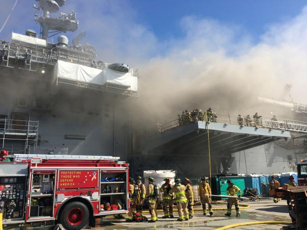 Sailors and Federal Fire San Diego firefighters combat a fire aboard the U.S. Navy amphibious assault ship USS Bonhomme Richard in San Diego