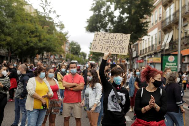 Protest over the lack of support and movement on improving working conditions, in Madrid