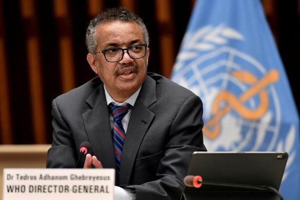 FILE PHOTO: World Health Organization Director-General Tedros Adhanom Ghebreyesus attends a news conference in Geneva