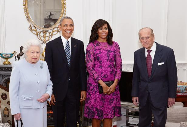 FILE PHOTO: Britain's Queen Elizabeth II and the Duke of Edinburgh stand with the President and First Lady of the United States Barack Obama and his wife Michelle (both centre), in the Oak Room at Windsor Castle