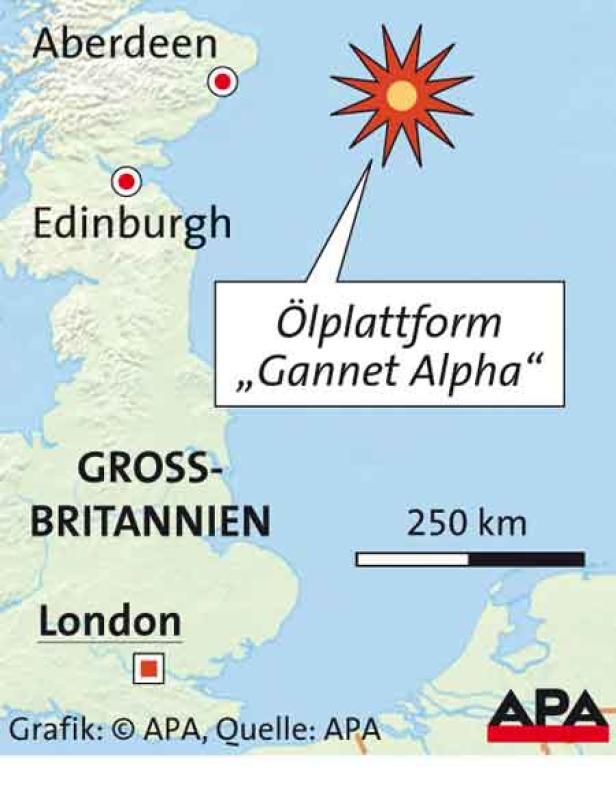 """Die Plattform """"Gannet Alpha"""", östlich von Aberdeen"""