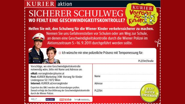 """KURIER-Aktion """"Vorrang für Kinder"""": Machen wir gemeinsam den Schulweg für Kinder sichererer."""