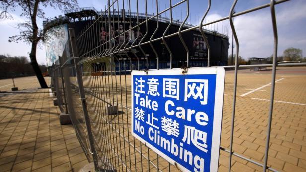Teile des Pekinger Olympiaparks sind aus Sicherheitsgründen gesperrt.