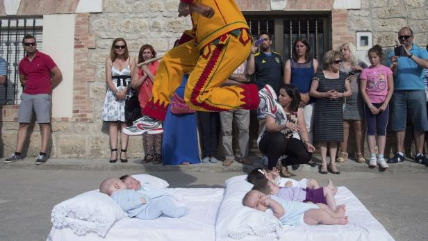 """El Colacho """"Baby Jumping"""" during traditional Corpu"""