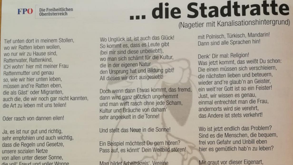 Ratten Gedicht Der Fpo Braunau Erzurnt Die Ovp Kurier At